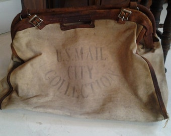 Large US Mail bag circa 1920's heavy duty canvas, leather, brass