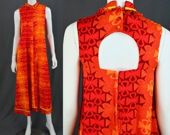 1960's Vintage Women's XS/ S Ko-Mai Hawaiian Dress Bright Orange Keyhole Back