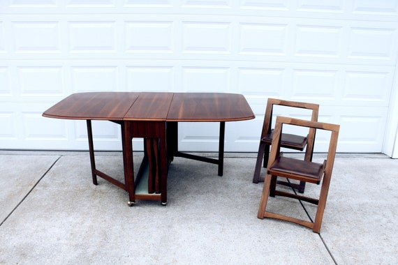 Drop Leaf Gateleg Dining Table With 4 Storable Chairs Set