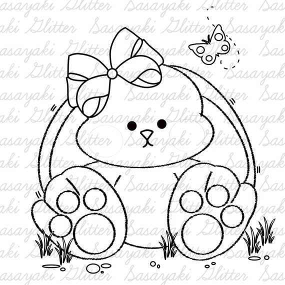 Cute Bun Digital Stamp by Sasayaki Glitter