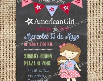 Invitación para fiesta con muñecas American Girl - IMPRIMIBLE- SPANISH