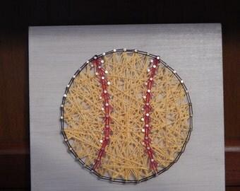 "READY TO SHIP! Softball String Art-7 1/4""x7 7/8"""