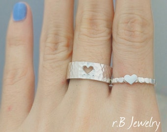 Heart Couple Ring, Couples Ring, Promise Ring