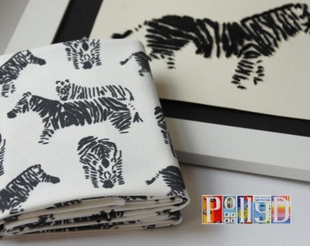 Exclusive black and white stitched 'zebra' motif digitally printed 100% cotton fabric fat quarter