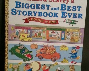 Golden Books Richard Scarry's Biggest and Best Storybook Ever 3 Books in One/Large Storybook/1994