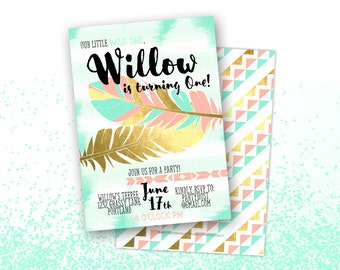 Boho Chic Birthday Invitation, Printable Digital File JPG or PDF, Aztec Wild One, First Birthday, Sweet 16 Sixteen, Gold Foil, Girl