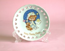 Teddy Beddy Bear Trinket Dish - Vintage 1982 Teddy Bear Dream Collectable Collectible Plate - By Enesco