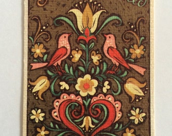 Vintage Fravessi Folk Art Style Party Invite Greeting Card ~ USED
