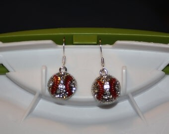 Bling Baseball Earrings