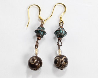 Copper Patina and Agate Earrings, Brown and Turquoise Earrings