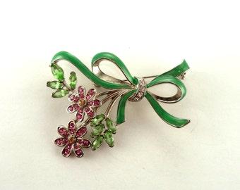 Pink Green Rhinestone Enamel Flower Brooch