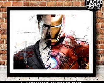 Iron Man Poster Print, Tony Stark Split, Civil War, Avengers, Captain America, Marvel Inspired Art