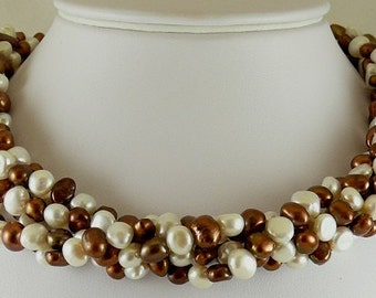 Freshwater Chocolate and White Pearl Necklace with Sterling Silver Clasp