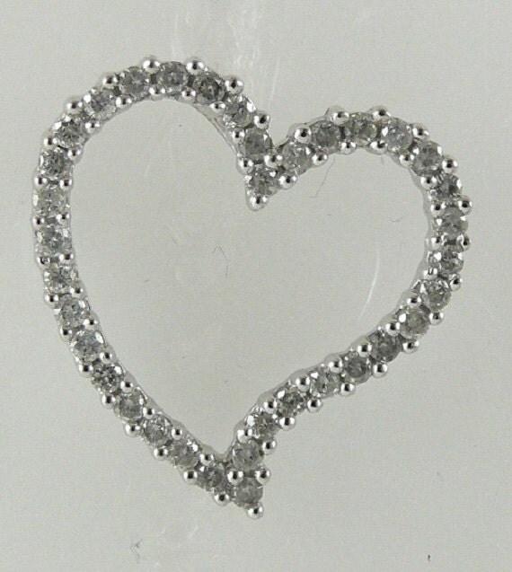 Heart Diamond 0.50ct Pendant 14k White Gold