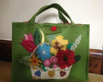 Green Felt Bag With Flower Embellishment