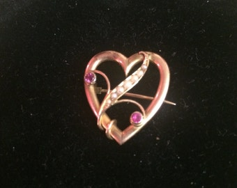 Victorian 9ct heart brooch