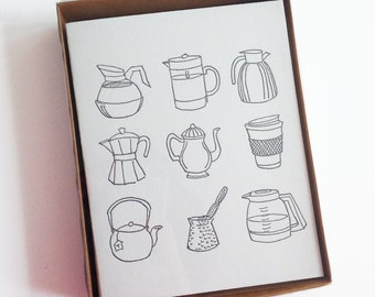 5 Coffee Pot Letterpress Cards