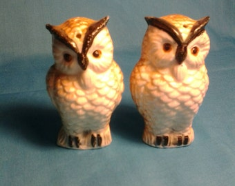 Owl Salt and Pepper Shakers with Corks