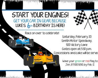 Race Car Birthday Invitation for Boy or Girl
