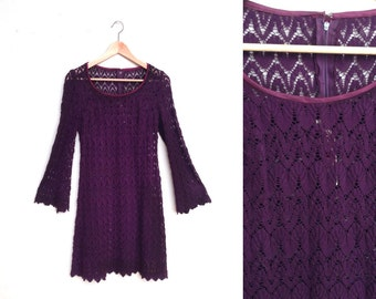 70s Eggplant Purple Lace Knit Dress with Bell Sleeves