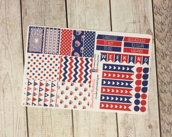 Fourth of July- 4th of July Themed Planner Stickers - Made to fit Vertical Layout