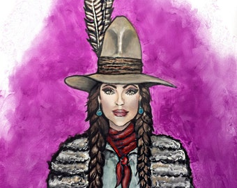 Hand-Painted Native American Cowgirl Giclee Print