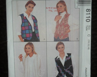 Misses Vests or Shirt with Attached Vest Fronts McCalls Pattern #8110