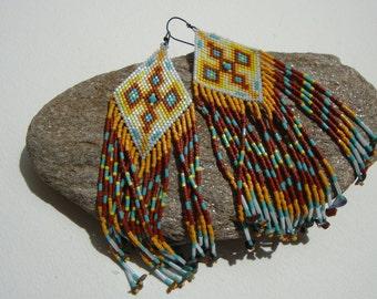 Earrings long, navajo, Native American Indian style, Bohemian, gipsy, hippie