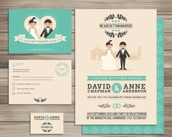 Wedding invitations, cute invitation,