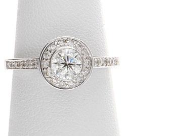 Bezel Set Diamond Engagement Ring, Unique Diamond Engagement Ring,Halo Diamond Engagement Ring, Bezel Set Engagement Ring