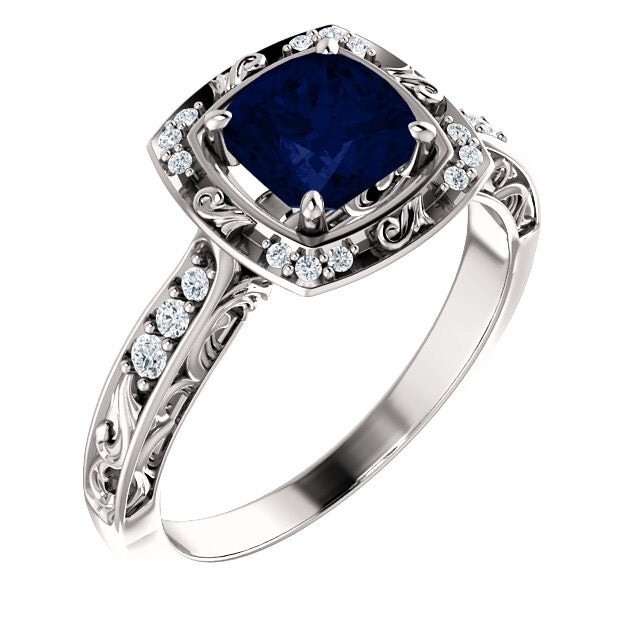 vintage sapphire ring antique sapphire ring victorian sapphire engagement ring vintage blue sapphire - Sapphire Wedding Rings