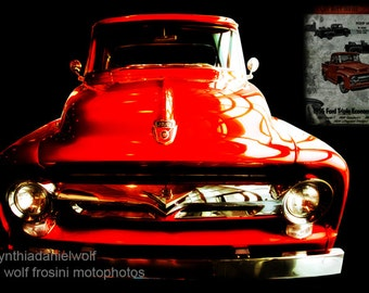 "Ford Truck '56 ""American Iron"", Metal Prints, Classic Car Art, Car Prints, Car Art, Wall Art, Photography, Prints, Gifts for Him, Home Décor"