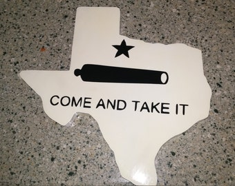 """State of Texas with the Gonzalez """"Come and Take It"""" flag overlay."""