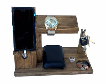 Samsung Galaxy S series Dock Station with Key Holder / Watch Stand / Docking Station / Cell Phone Organizer  / 10 color options  (1H 1K)