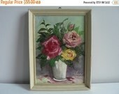 VALENTINES DAY SALE Oil Painting Roses Still life Painting Original Vintage Small Shabby Chic Painting Country Cottage Chic French Country