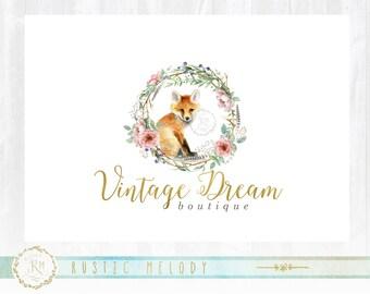 Fox Logo Design, Floral Logo, Boutique Logo, Watercolor Fox, Artisan Logo, Decor Logo, Florist Logo, Photography Logo, Watermark