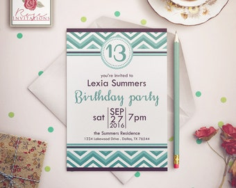 Turquoise Chevron - Teen Birthday Invitation