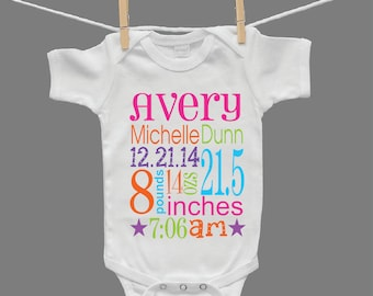 Personalized Birth Announcement Baby Girl Bodysuit Infant Bodysuit