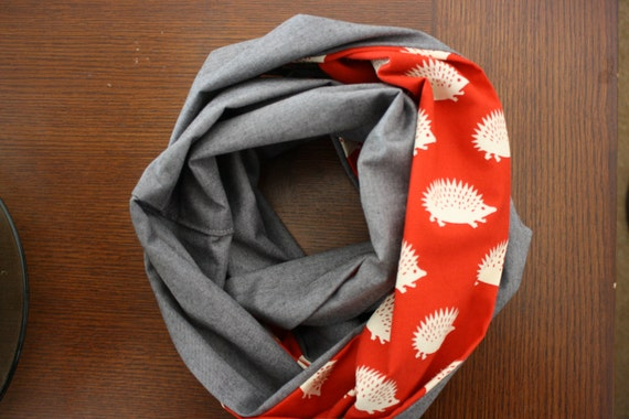 Red Hedgehog Reversible Infinity Scarf Full Size
