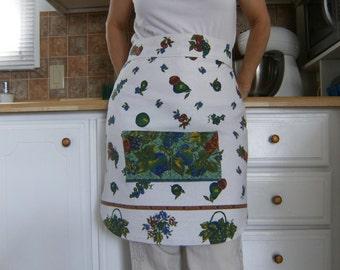 Linen Apron, Upcycled Apron, Women's Half Apron, Vintage Tablecloth Apron