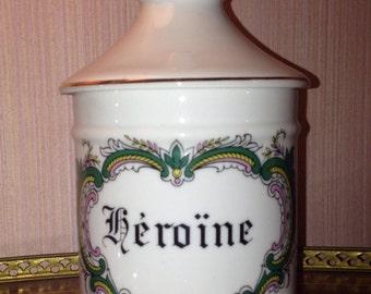 Apothecary Jar box Pharmacy pot - Heroïne - Limoges porcelain - 20th century