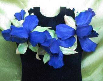Purple Iris flowers, Necklace leather, Purple flowers Necklace leather, Purple Iris summer necklace, Iris flowers leather necklace. Iris