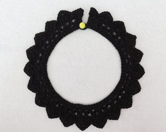Black crochet collar