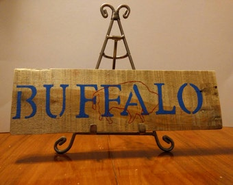 Hand Painted Wood Buffalo Sign