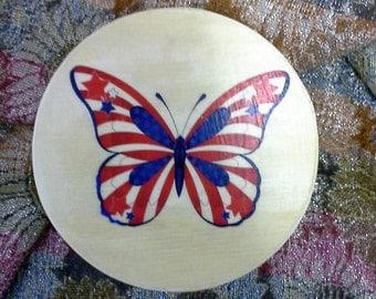 Butterfly Box/Patriotic/Wood print transfer/Keepsake