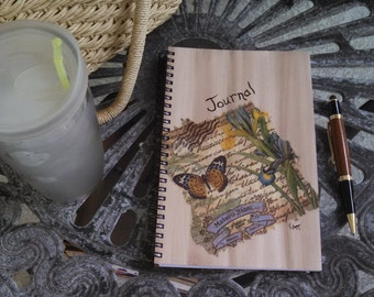 Hand Painted Spiral Journal; FREE SHIPPING; Collage Art on Wire Bound Blank Notebook; Writing Sketching; Unique Diary; Butterfly Art