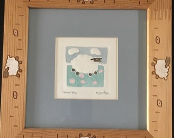 Embossed Hand-Painted Sheep by Peg Wheeler Hope Limited Edition Signed and Numbered 41 / 250.