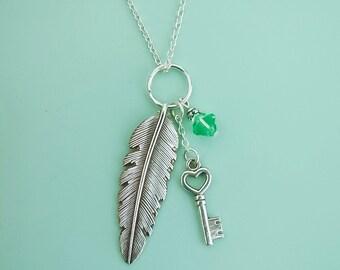 Key to My Heart Bird Necklace With Swarovski Crystal
