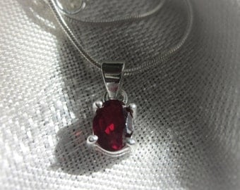 Oval Natural Red Garnet gemstone, sterling silver pendant necklace