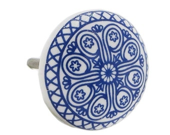 Blue Wheel Decorative Ceramic Dresser Drawer, Cabinet Drawer or Door Knob Pull - i945